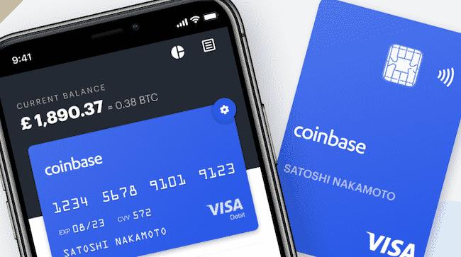 La carte de paiement de la plateforme : CoinbaseCard