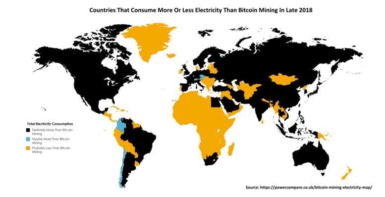Consommation d'électricité du Bitcoin. Le Bitcoin consomme plus d'électricité que certains pays d'Afrique ou d'Asie.