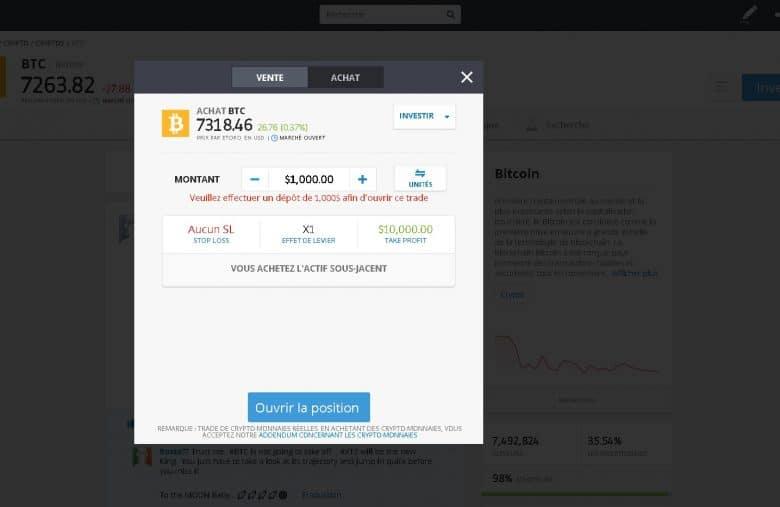 Présentation de la page d'achat de Bitcoin sur eToro