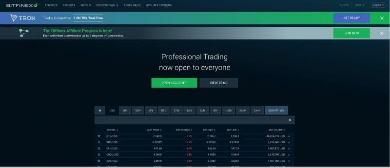Page d'accueil de Bitfinex