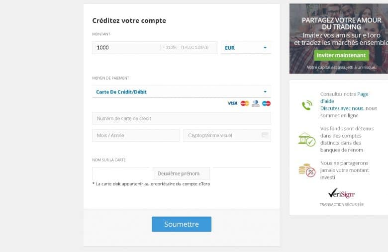 eToro vous propose plusieurs moyens de paiement outre le virement bancaire et la carte bancaire