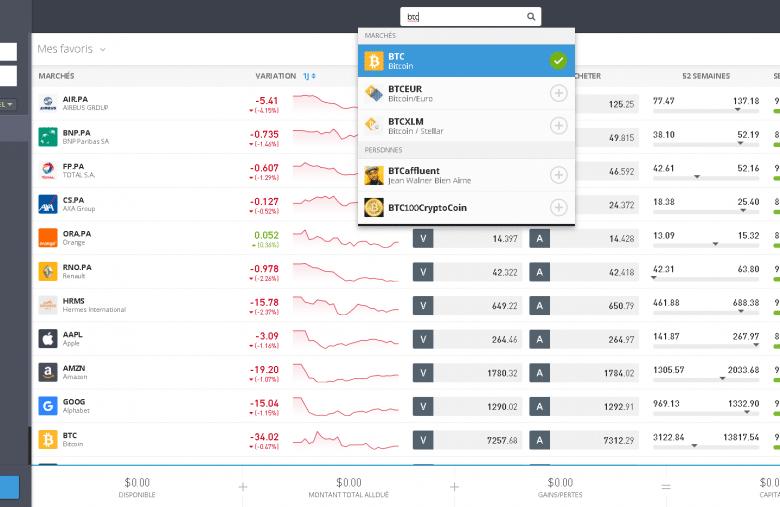 Servez-vous de la barre de recherche pour trouver le Bitcoin