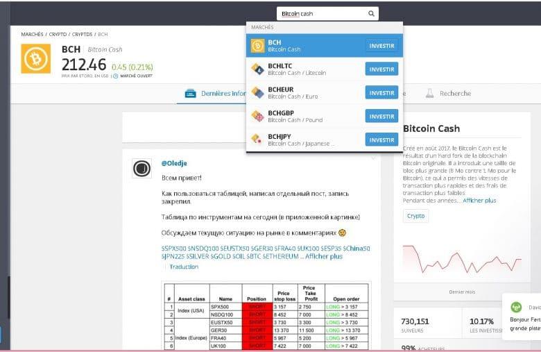 Repérage du Bitcoin Cash sur eToro