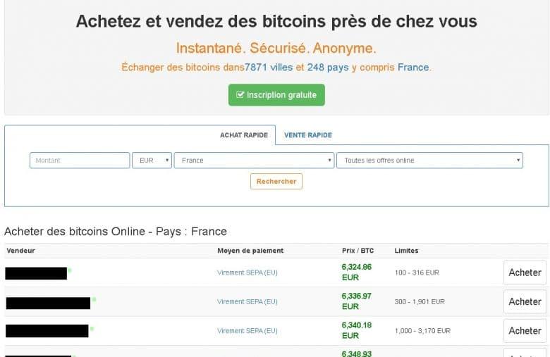 Vous pouvez acheter rapidement des Bitcoins sur LocalBitcoins