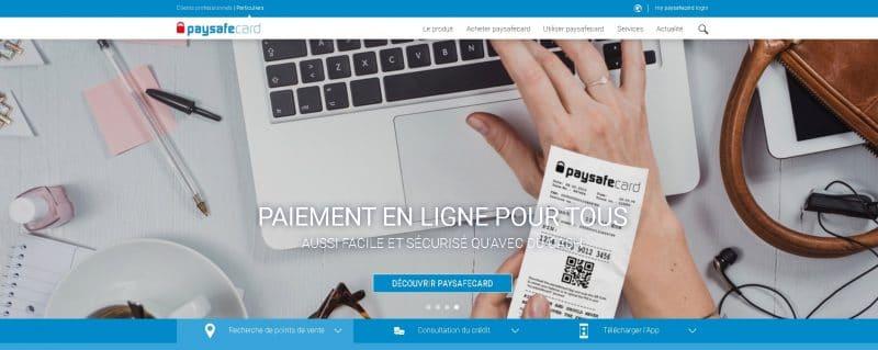 Page d'accueil de Paysafecard, un moyen idéal pour acheter du Bitcoin
