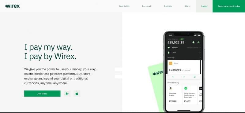 Page d'accueil de Wirex, site sur lequel vous pourrez acheter du Bitcoin avec Paypal
