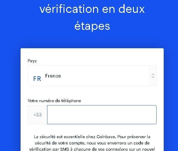 Configuration de vérification en deux étapes sur Coinbase