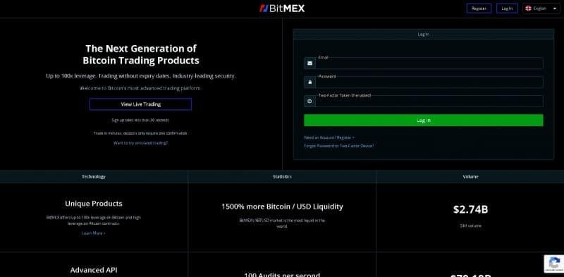 Page principale de BitMex