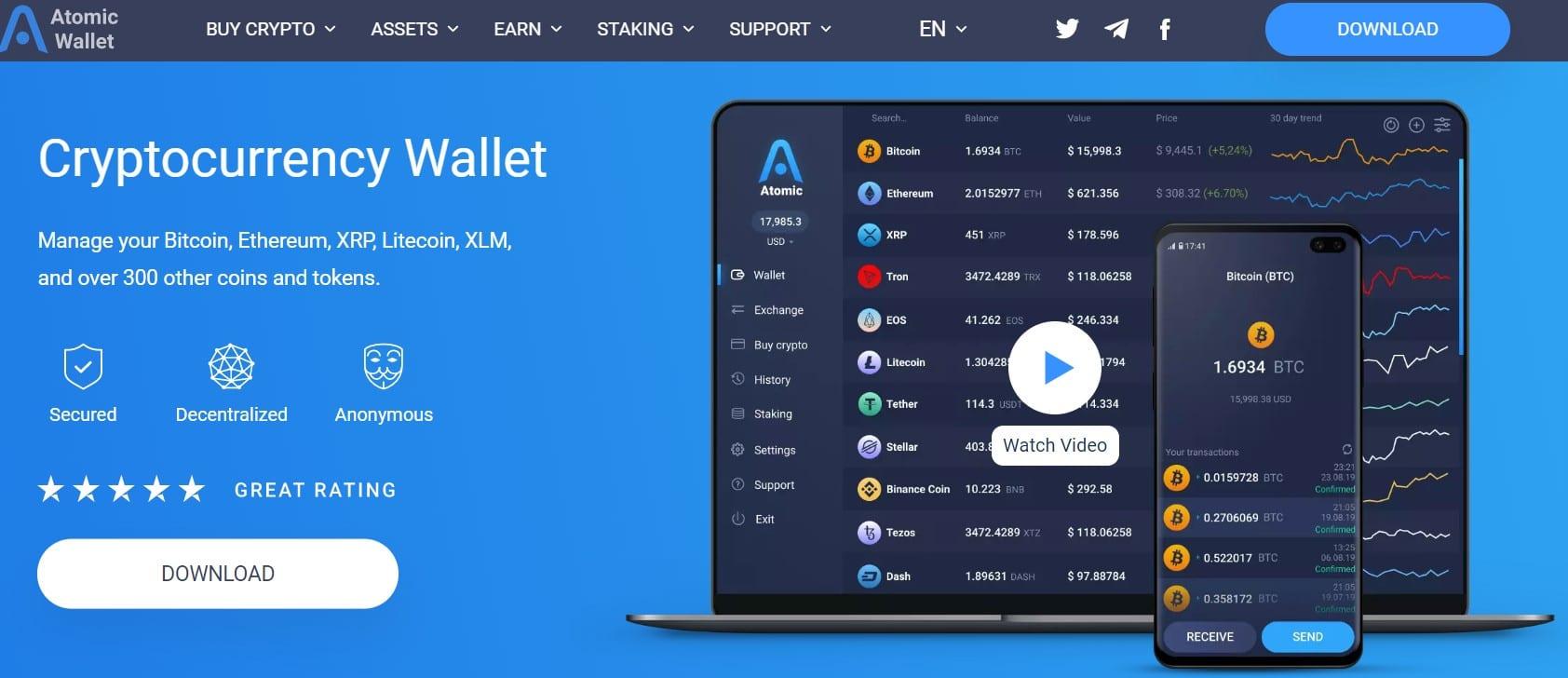 Atomic Wallet fait partie des portefeuilles logiciels utilisables