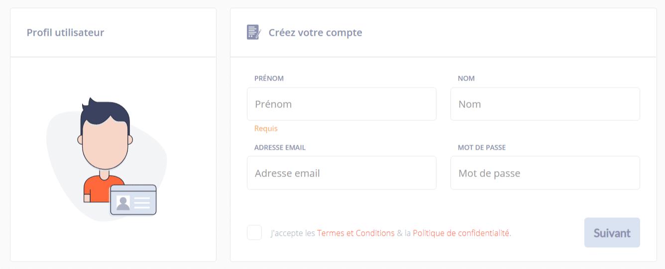 Vous devrez créer un profil utilisateur sur Bitit pour procéder à votre premier achat de Bitcoin