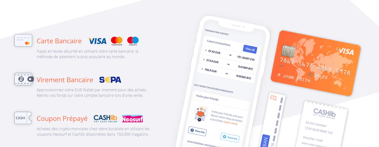 L'achat de Bitcoin sur Bitit est possible via CB, Virement bancaire et coupon prépayé