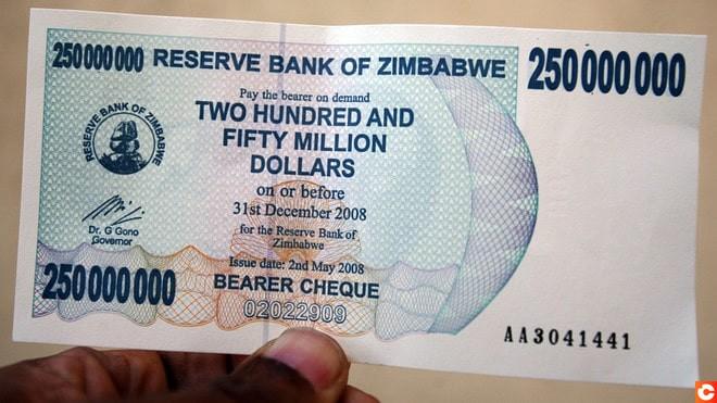 Billet de banque du Zimbabwe