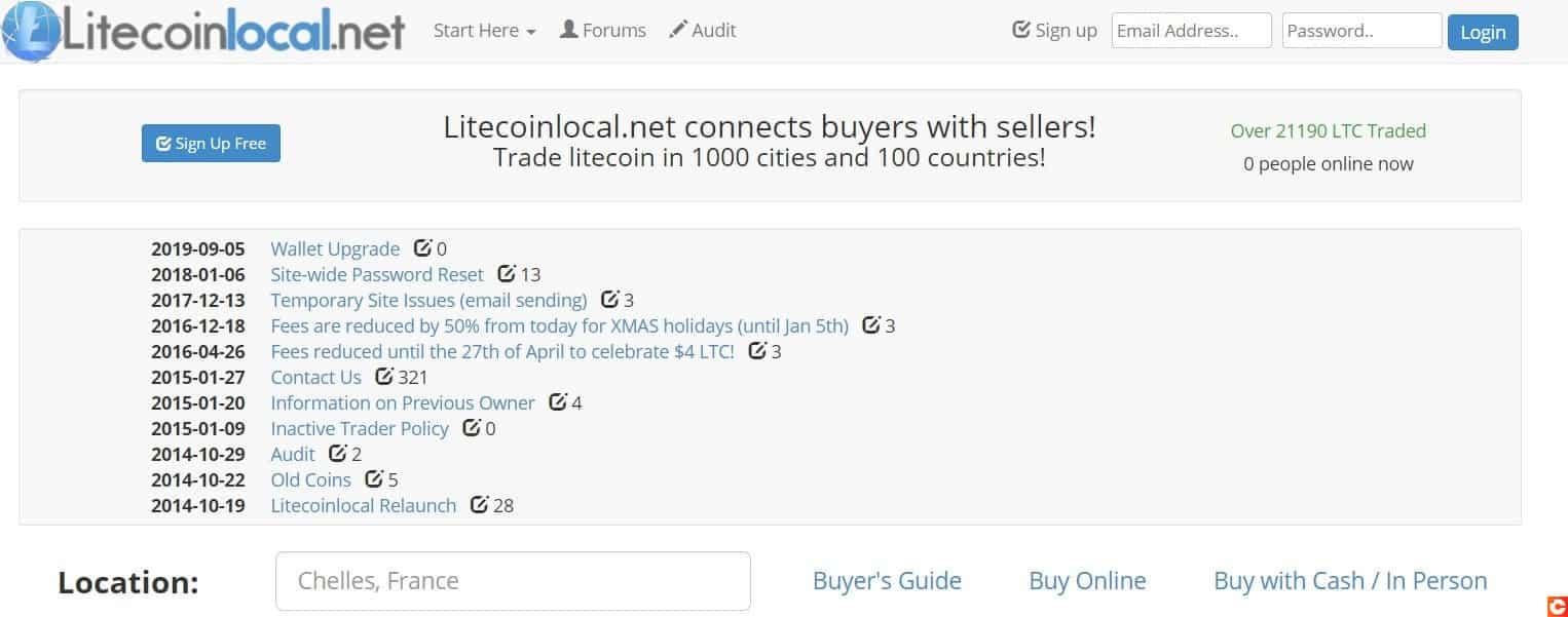 Page d'accueil de Litecoinlocal