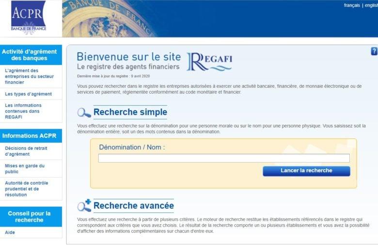 Page du registre Regafi