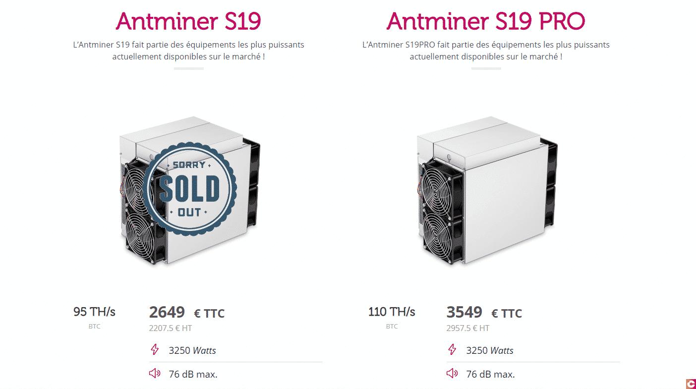 Pou miner du Bitcoin dans de bonnes conditions difficile de trouver mieux que les antminer S19 et S19PRO