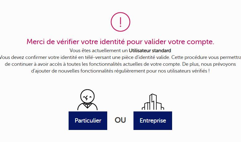 La procédure de KYC de feel mining, nécessaire à la mise en place d'un virement en euros sur un compte français