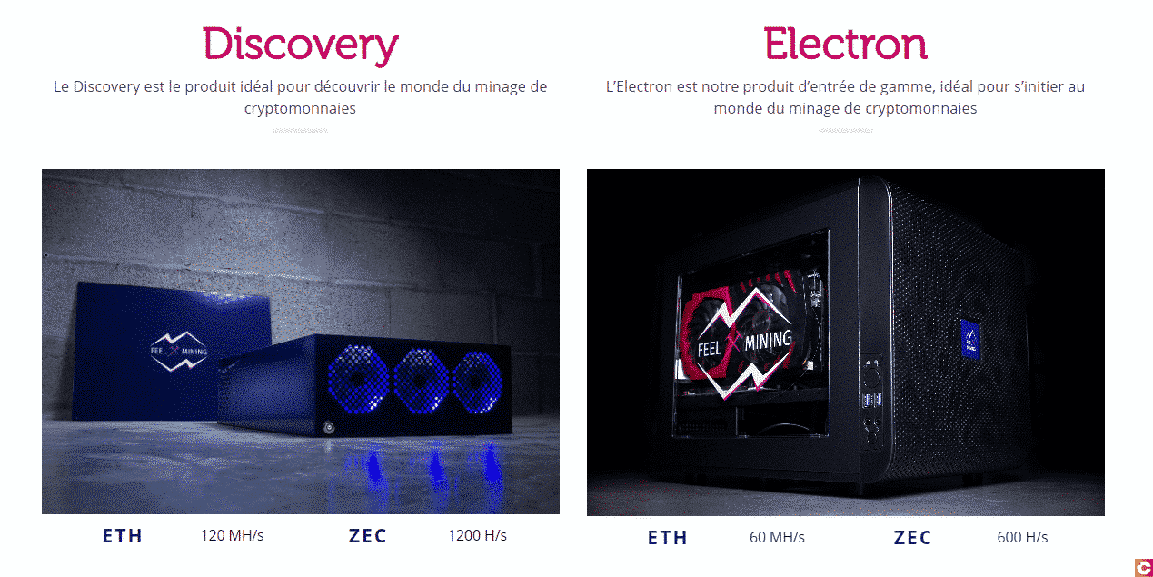 The different RIGs to mine ZEC and ETH on the Feel Mining site