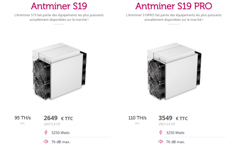 Antminers S19 and S19PRO from Antminer offered by Feel Mining