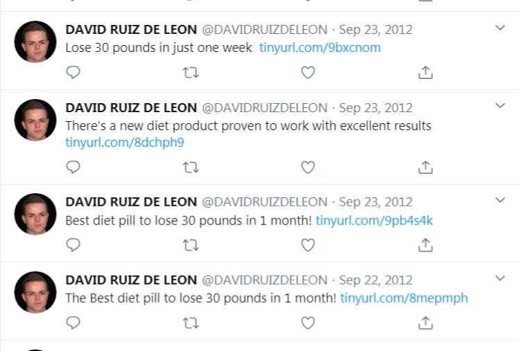 Twitter de David Ruiz de Leon vendant des produits amincissant