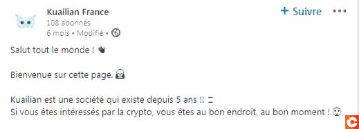 Message LinkedIn de Kuailian France présentant le projet comme vieux de 5 ans