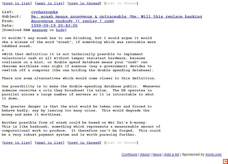 Un message de Satoshi Nakamoto de 1999