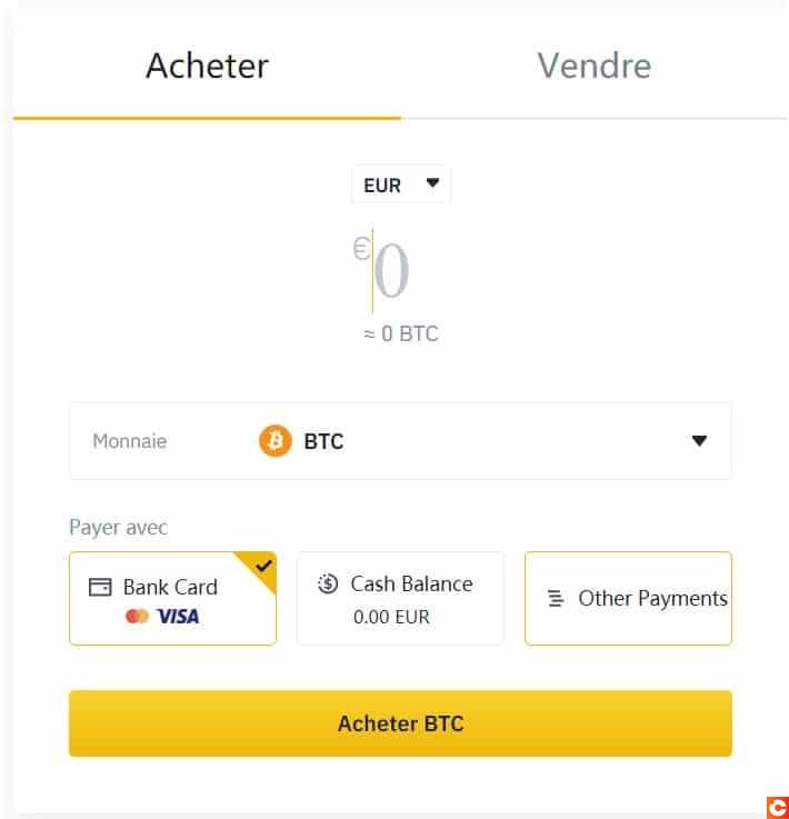 Avec votre carte bleue, achetez du Bitcoin directement sur la plateforme Binance