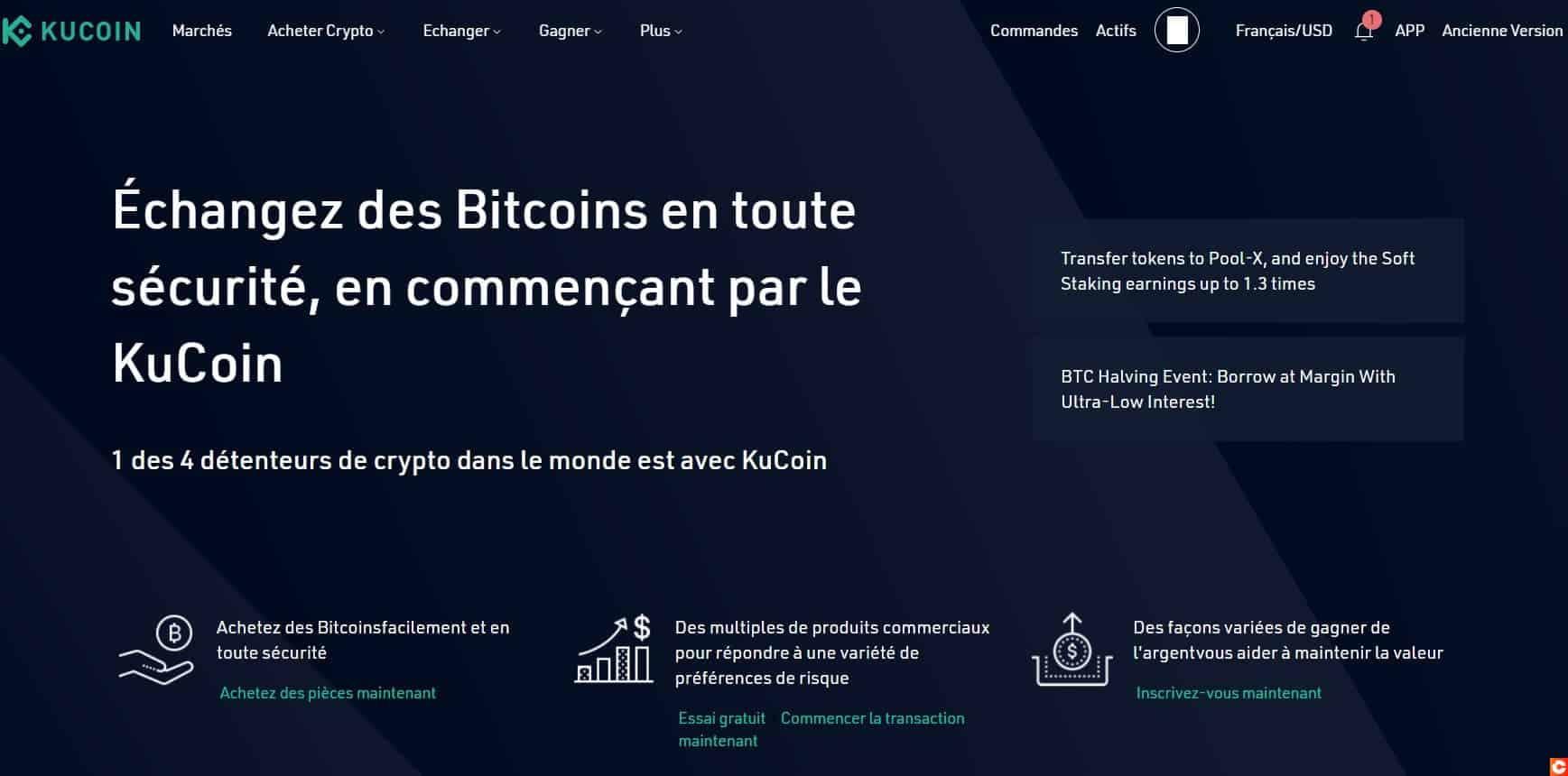 Commencez par aller sur la page de présentation de KuCoin