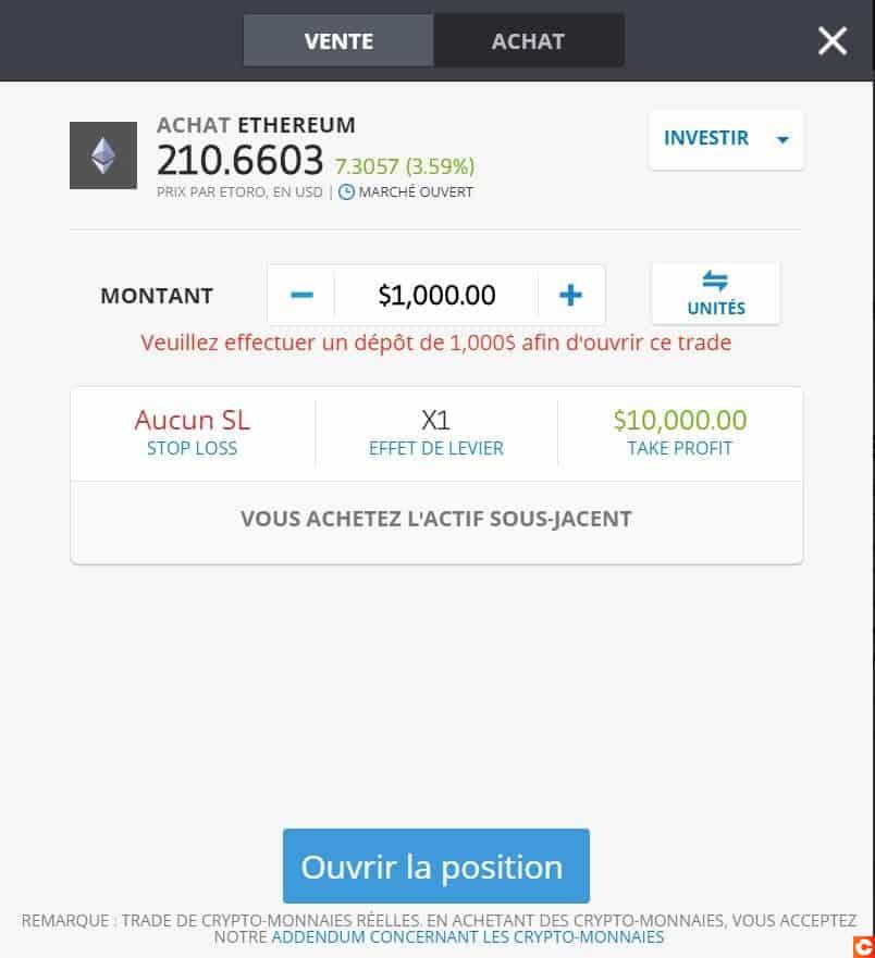 Faites votre premier investissement d'Ethereum sur cette page !