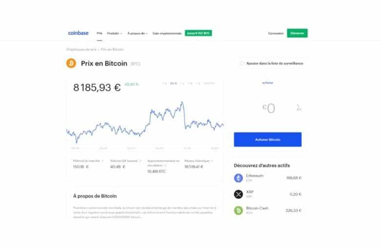 Vous pouvez consulter le cours du Bitcoin en direct avant d'en acheter sur Coinbase