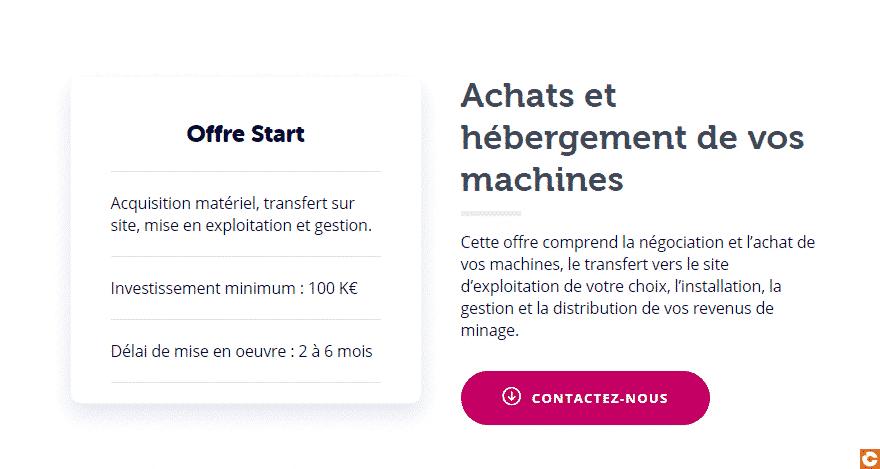 """L'offre """"start de Feel Mining pour les investisseurs dans le minage de Bitcoin à partir de 100 000 euros"""
