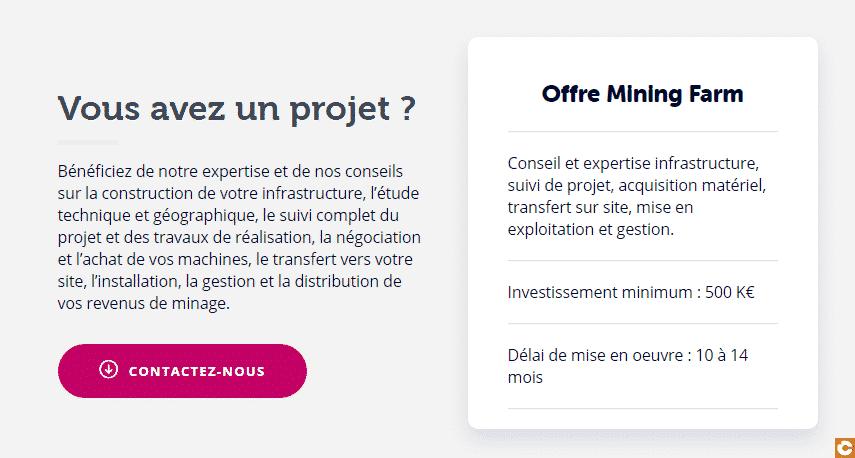 """L'offre """"Mining Farm"""" de Feel Mining pour les investisseurs dans le minage de Bitcoin à partir de 500 000 euros"""