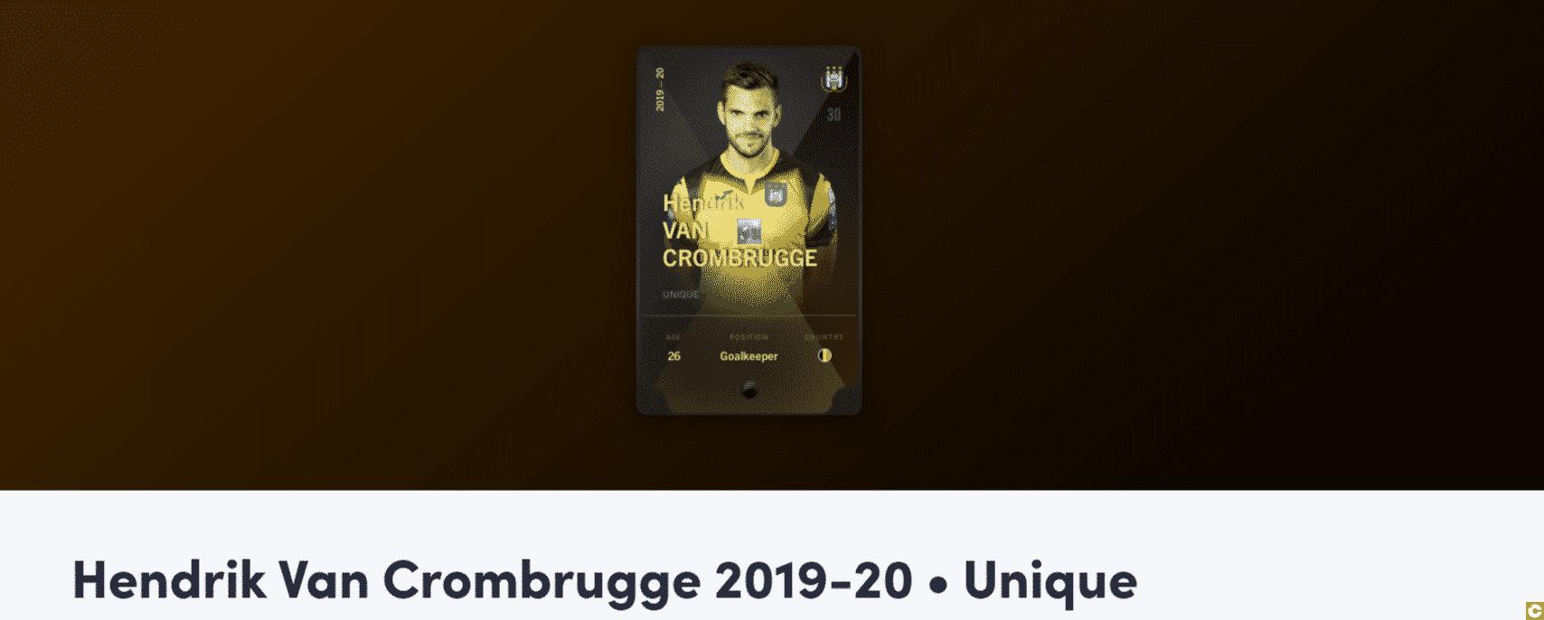La carte Hendrik Van Crombrugge échangée pour 2000 dollars
