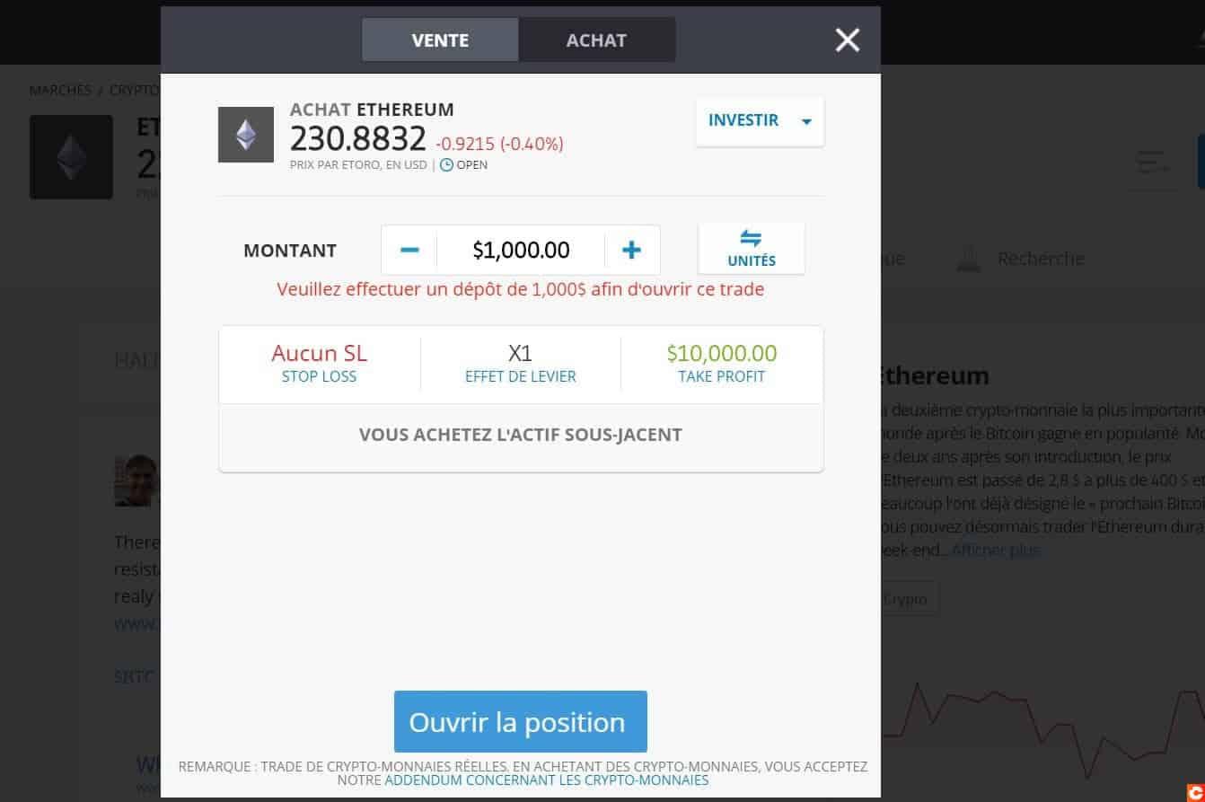 Investissement dans l'Ethereum sur eToro