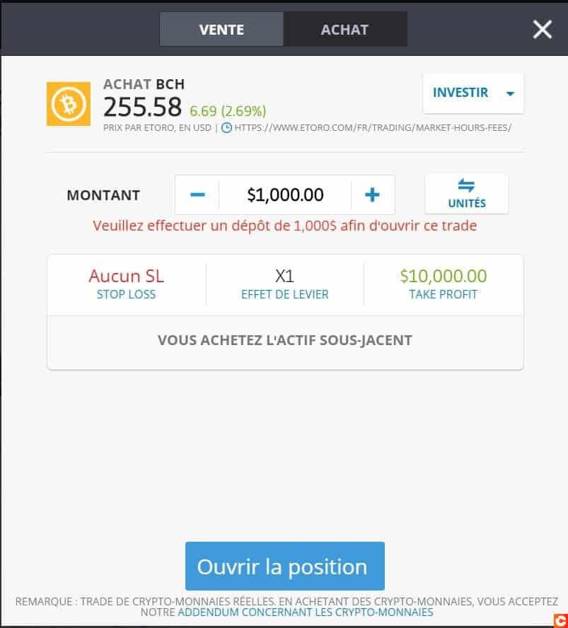 Page d'achat de BCH sur la plateforme eToro