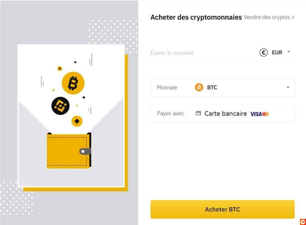 Achat de Bitcoin par CB sur Binance