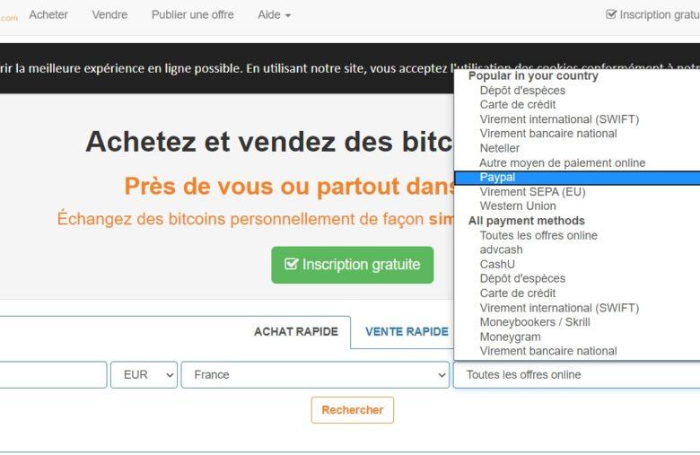 Servez-vous du filtre pour trouver plus rapidement vos vendeurs pour acheter du Bitcoin avec Paypal sur LocalBitcoin
