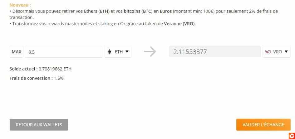 Conversion de cryptomonnaies en VRO sur le site Just Mining