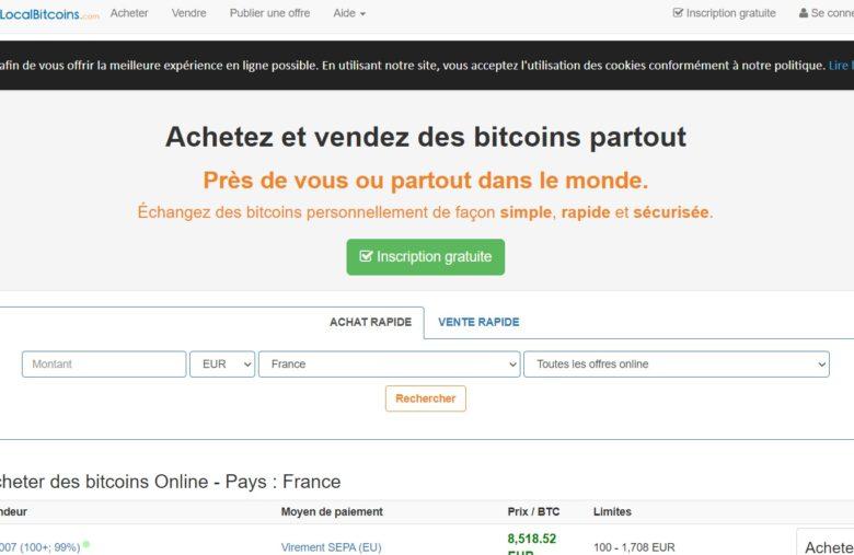 La page d'accueil de LocalBitcoins vous permet de très vite trouver des vendeurs