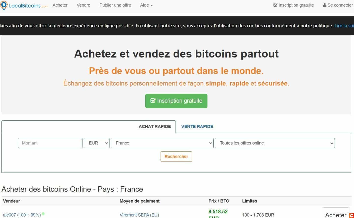 La page d'accueil de LocalBitcoins vous permet de très vite trouver des vendeurs de Bitcoin
