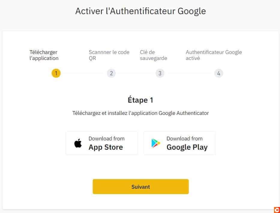 Suivez les 4 étapes pour activer Google Authenticator