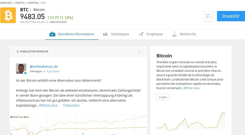 Sur cette page se trouvent plusieurs informations concernant la cryptomonnaie