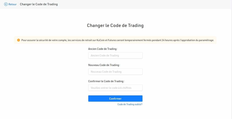 Cette page vous permet également de changer votre Code de Trading