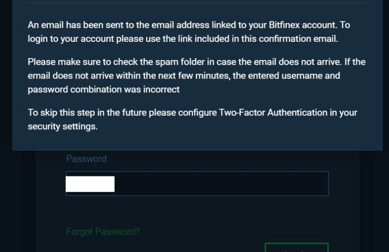 Vous devrez automatiquement aller sur votre boîte mail pour vous connecter sur Bitfinex