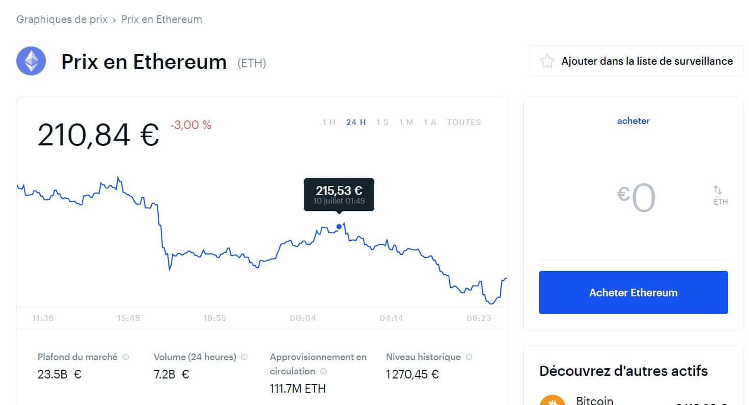 Vous pouvez également aller sur la page de la cryptomonnaie avant de l'acheter