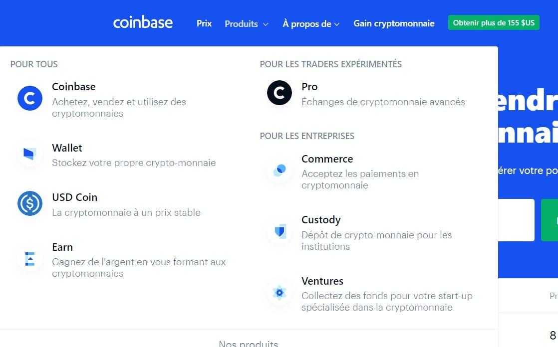 En allant sur la plateforme, vous remarquerez des produits signés Coinbase