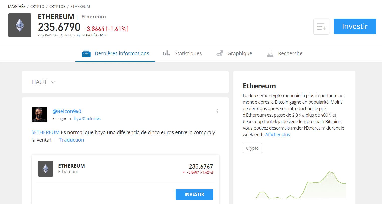 Utilisez les quatres onglets d'eToro pour en apprendre plus sur la Ethereum