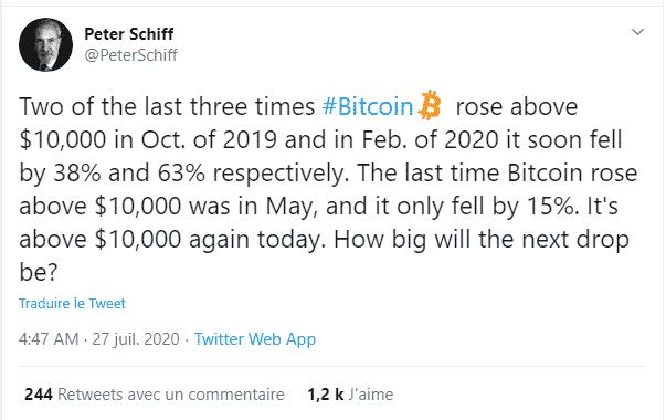 Peter Schiff critiques Bitcoin BTC 10 000 USD chute