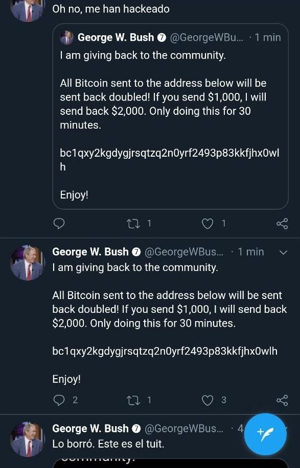 L'ancien président W.Bush semble hésiter