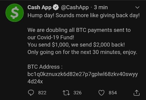 Le compte Twitter de Cash App se fait également hacker
