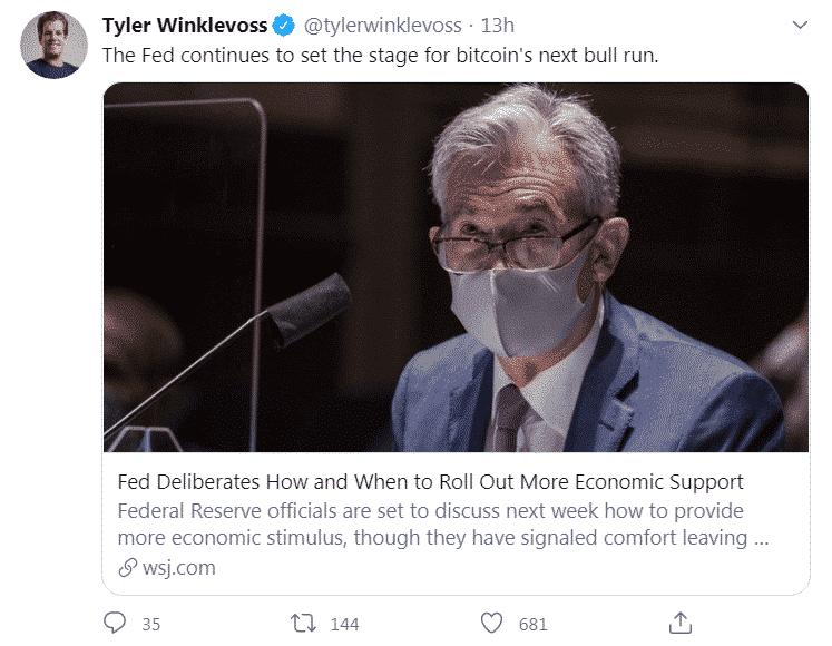 TYler Winklevoss FED injection USD effets Bitcoin BTC